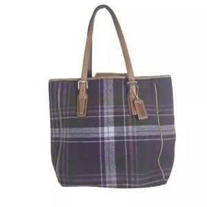 Coach wool and leather shoulder bag vintage rare